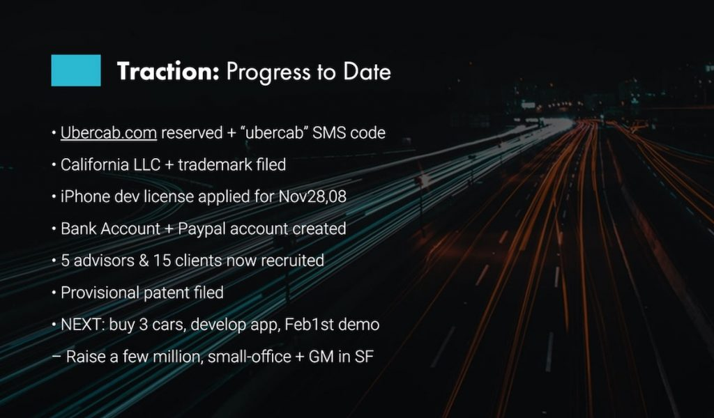 Uber traction in startup pitch deck